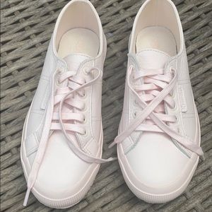 NWOT Superga pink leather lace-up sneakers, 8